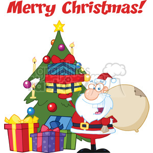 Royalty Free RF Clipart Illustration Merry Christmas Greeting With Santa  Claus Holding Up A Stack Of Gifts By A Christmas Tree clipart. Royalty.