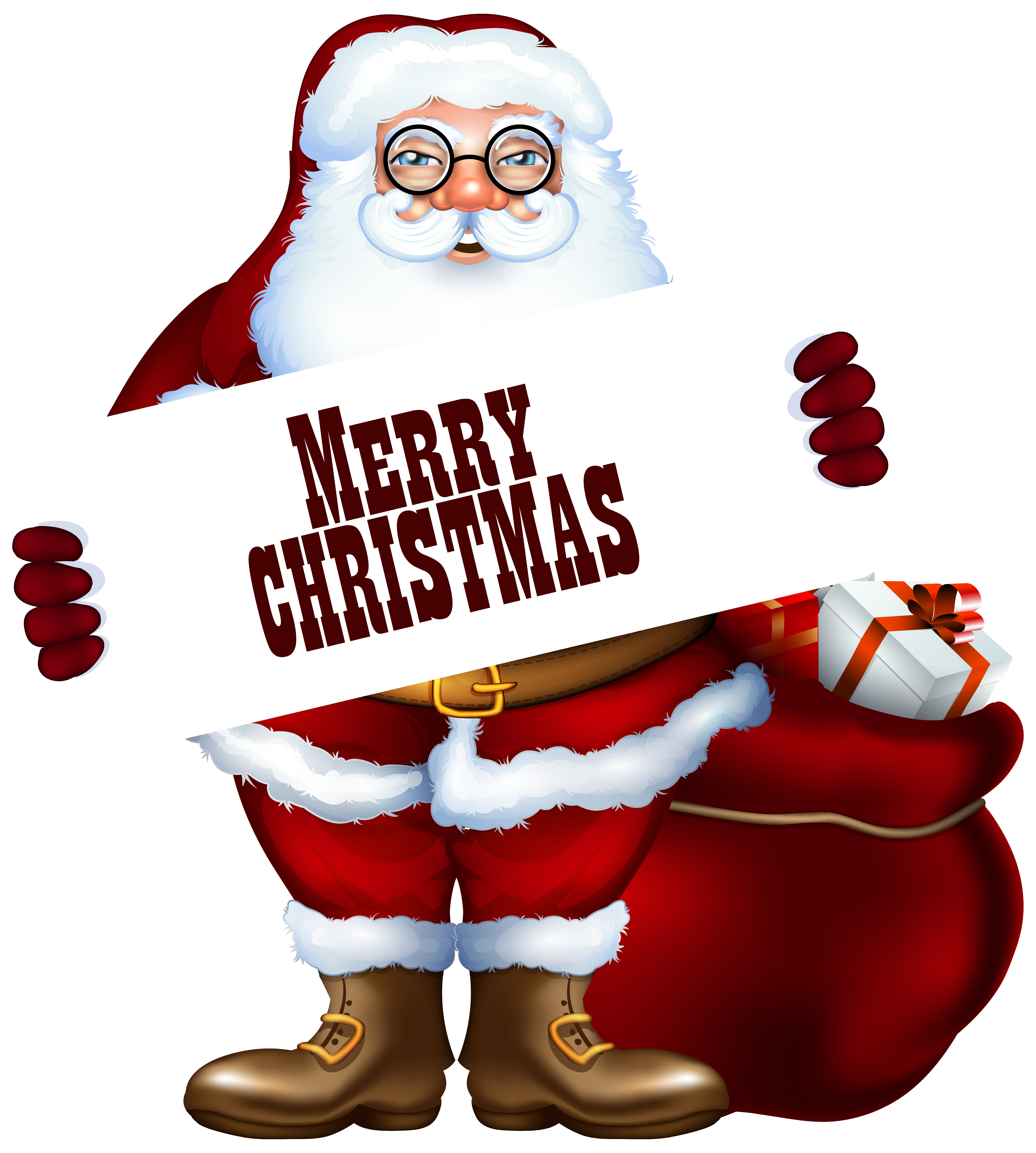 Santa Claus with Merry Christmas Label PNG Clipart Image.
