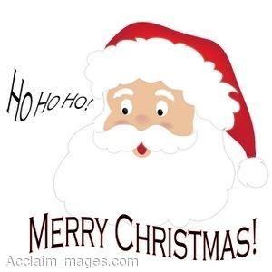 Clip Art of Santa Saying Ho Ho Ho With Merry Christmas Below Him.