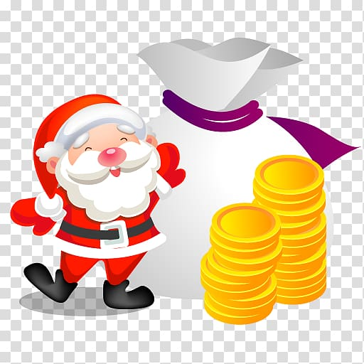 Santa Claus and coin , food fictional character , Santa.