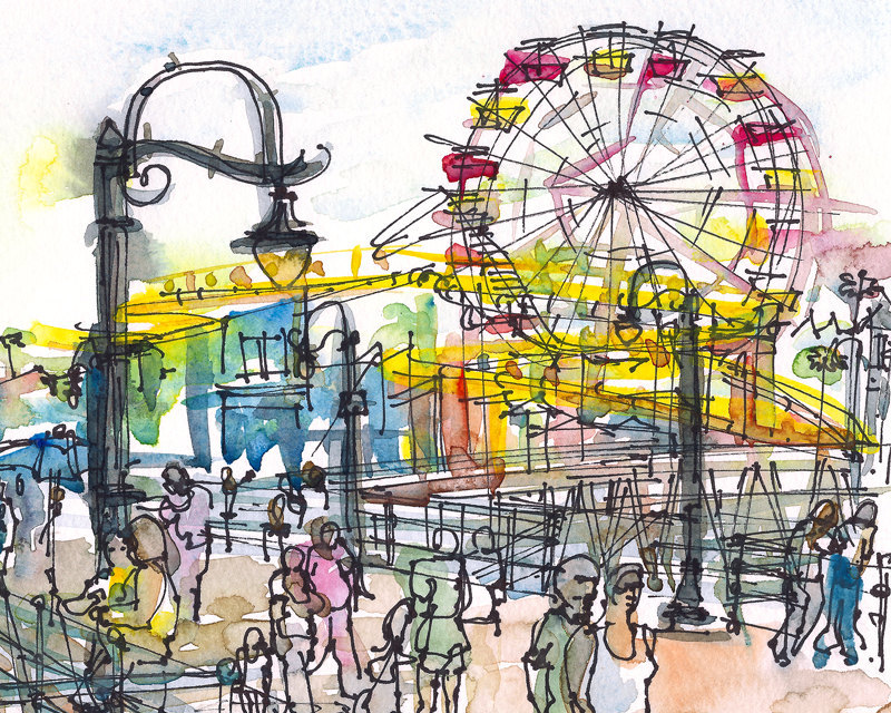 Santa Monica Pier California watercolor sketch in primary by.