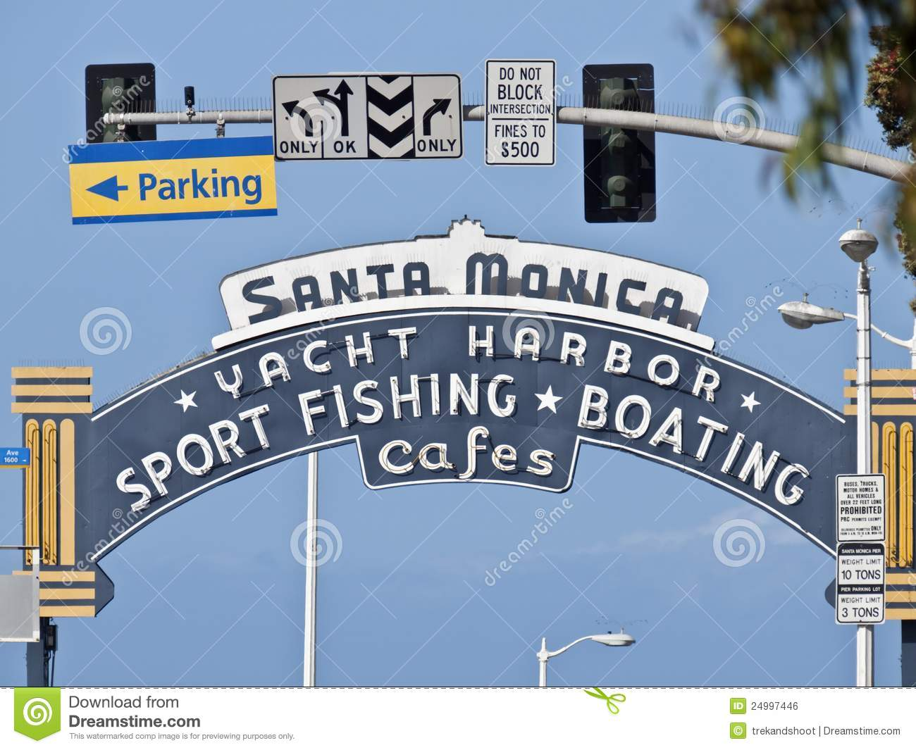 Neon Santa Monica Pier Sign Stock Photo.