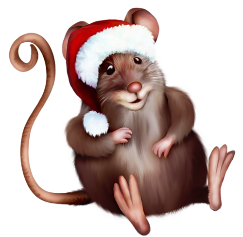 Mouse with Santa Hat Clipart Cartoon.