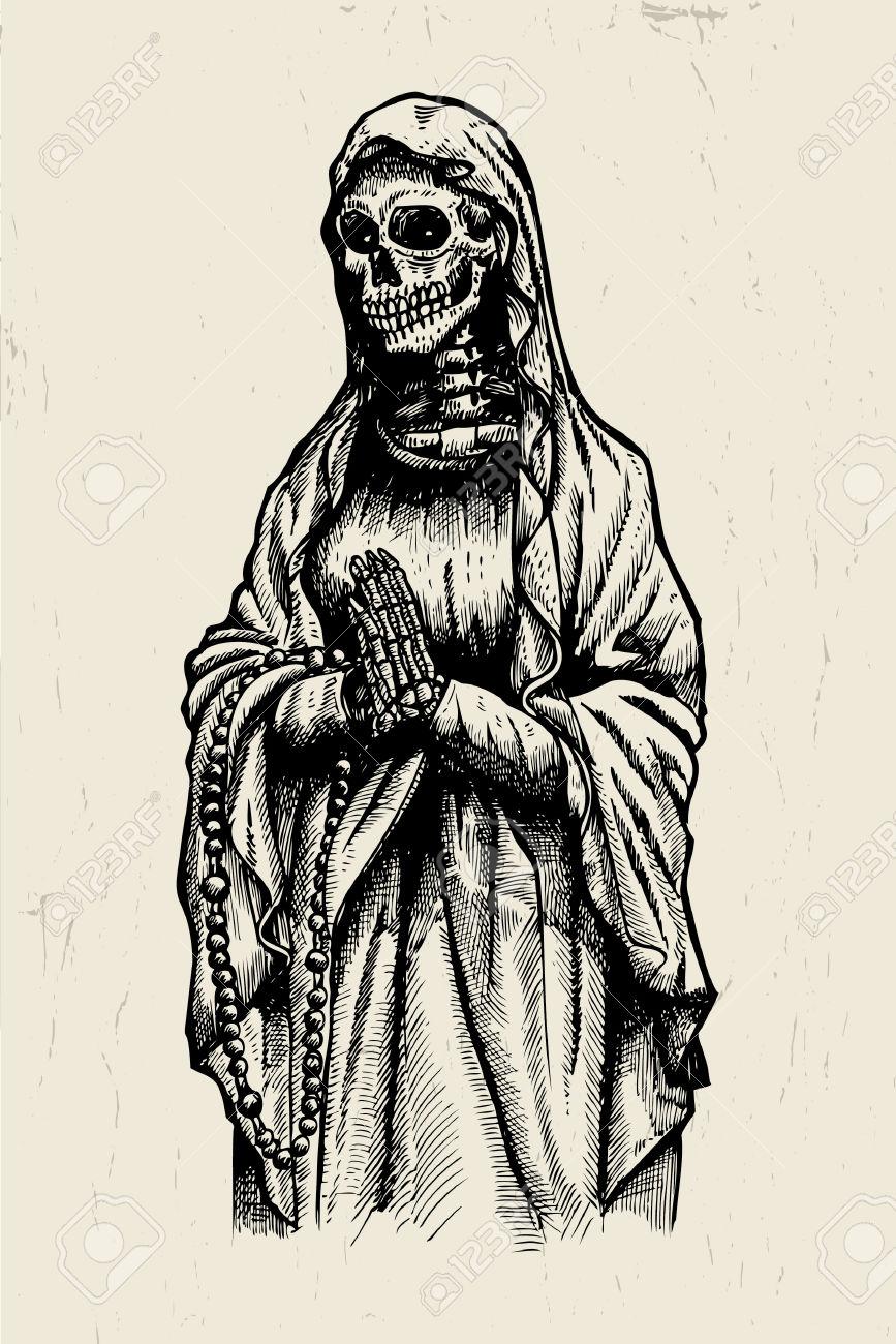 Dibujado A Mano De La Santa Muerte Esqueleto Rezando Ilustraciones.