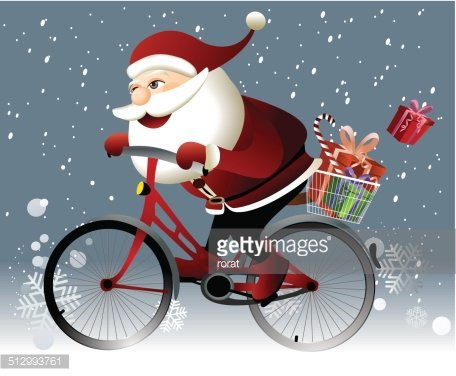 Santa Claus riding a bike Clipart Image.