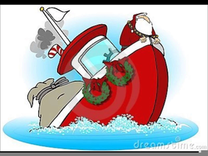 Santa On A Boat Clipart.