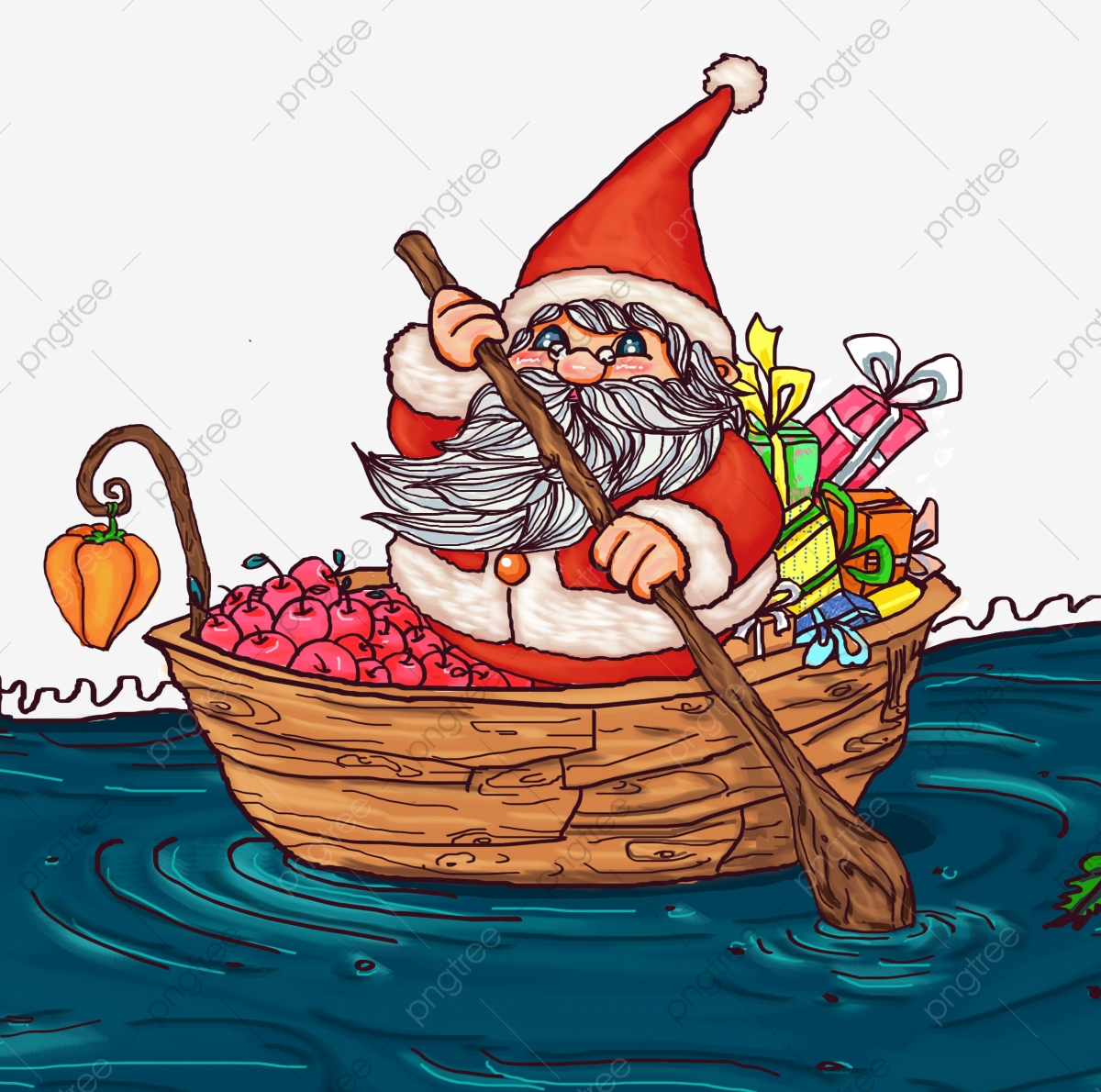 Christmas Christmas Santa Claus Boating, Paddle, Santa.