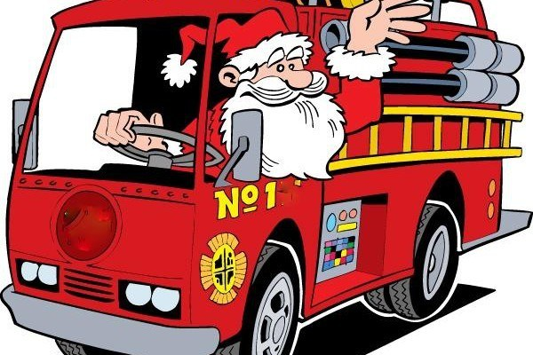 Santa Comes to Bluffton on a fire truck.