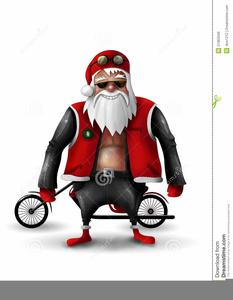 Santa On A Harley Clipart.
