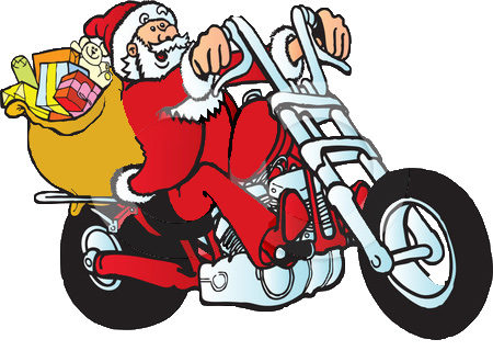 Christmas Motorcycle Cliparts.