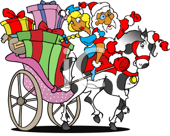 Royalty Free Clipart Image of Santa Clause Riding a Horse.