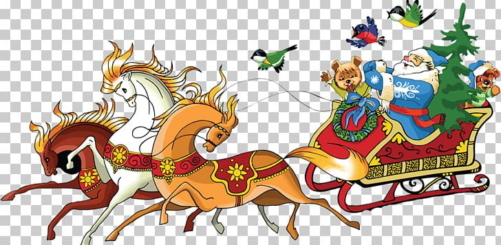 Santa Claus Horse Reindeer Christmas PNG, Clipart, Art, Car.