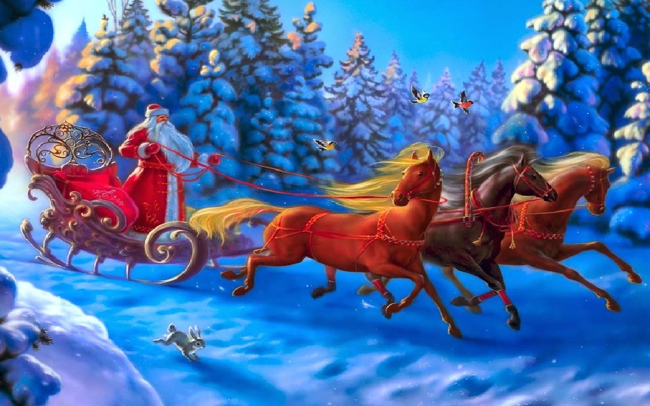 Santa On A Horse Clipart.