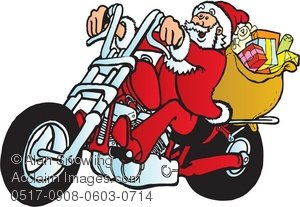 Clipart Illustration of Santa Riding a Motorcycle.
