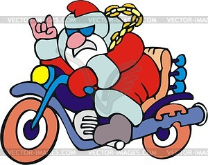 Santa Claus drives motorcycle.