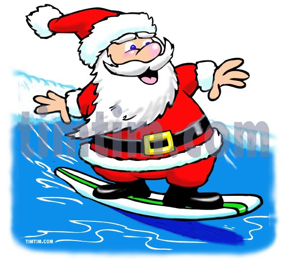 Free drawing of A Surfing Santa from the category.