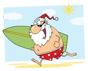 Santa Surfing Clipart.