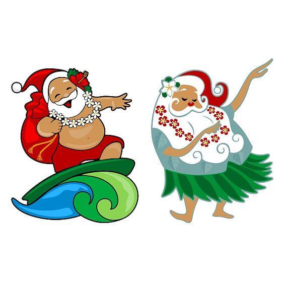 Santa Clause Hawaii Beach Surf Cuttable Designs SVG by.