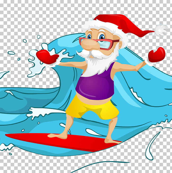 Santa Claus Surfing , Santa surfing PNG clipart.