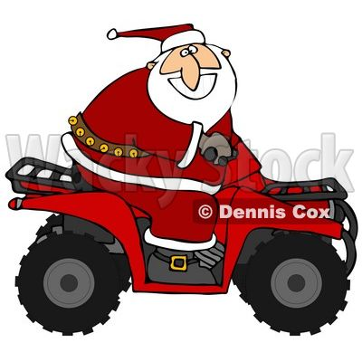 santa on tractor clip art.