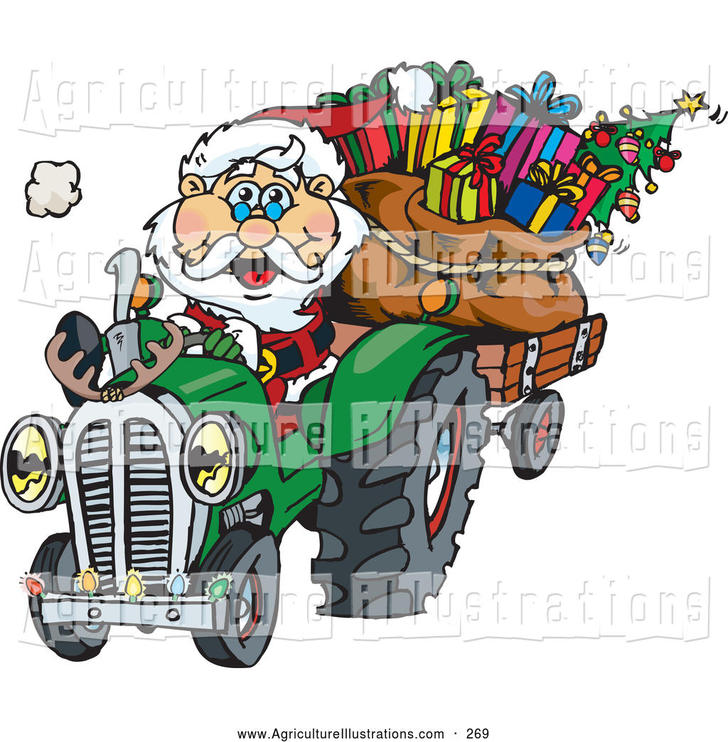 Agriculture Clipart of a Peaceful Santa Driving a Tractor.