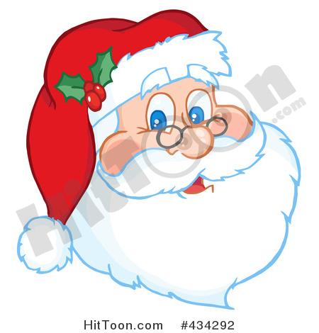 Santa Clipart #220599: Team of Reindeer and Santa in His Sleigh.
