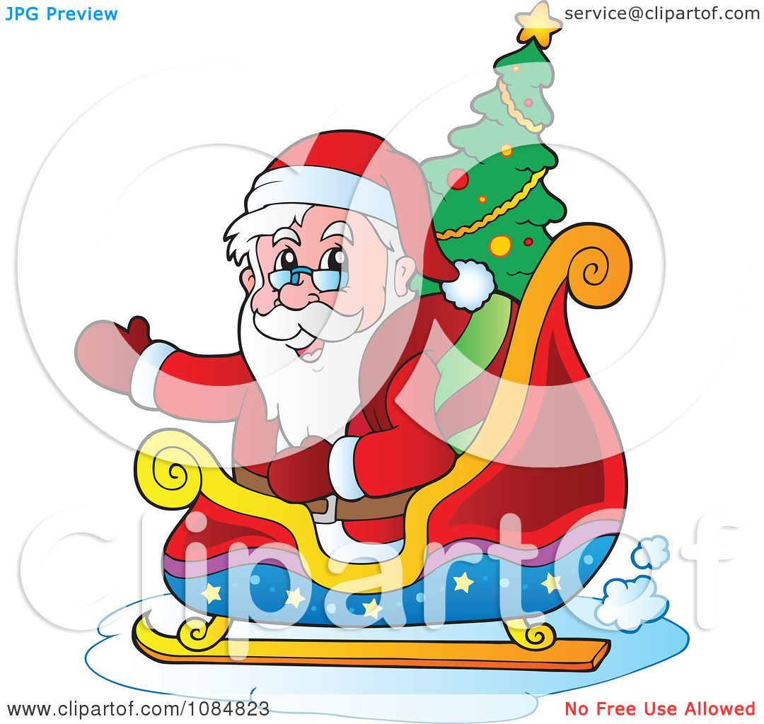 Clipart Waving Santa In His Sleigh With A Christmas Tree.