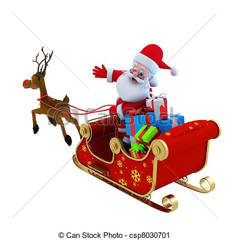 Clip Art of santa with his sleigh.