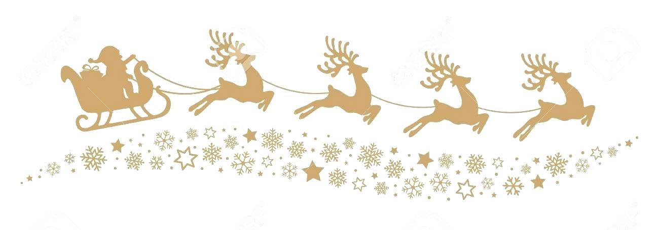 Santas Sleigh And Reindeer Flying Gold Silhouette Stock.