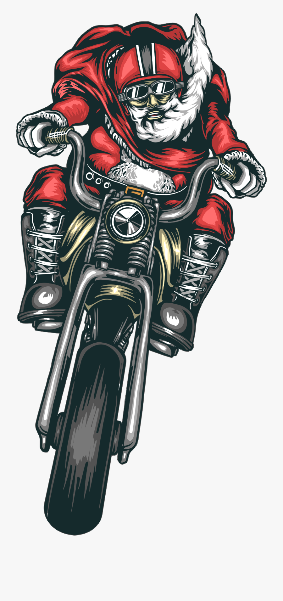 Motorcycle Santa Clip Arts.