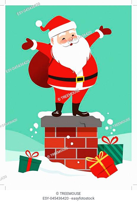 Santa claus standing on a roof Stock Photos and Images.