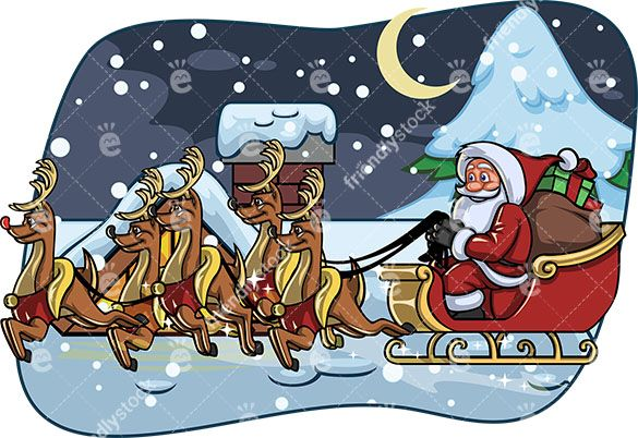 Santa Claus Riding On His Sleigh Atop A House Roof That\'s.