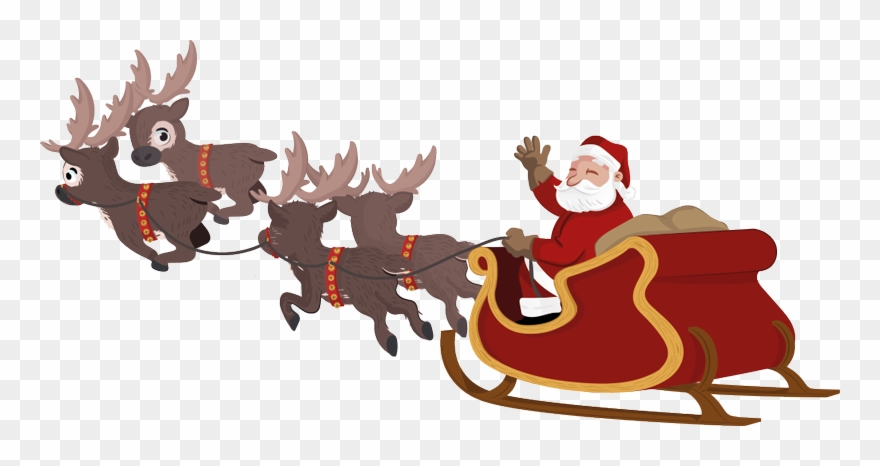 Santa And Sleigh Clipart.
