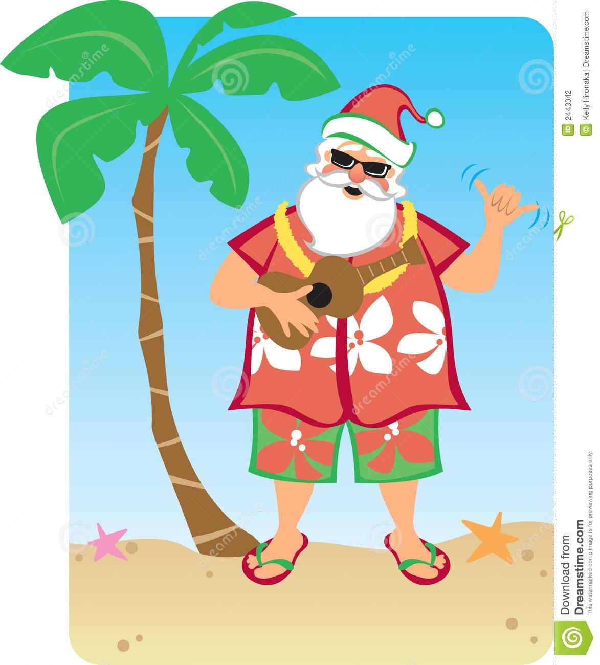 Santa On The Beach Clipart.