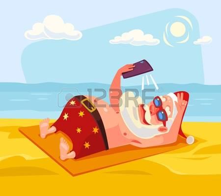 381 Santa Beach Stock Vector Illustration And Royalty Free Santa.