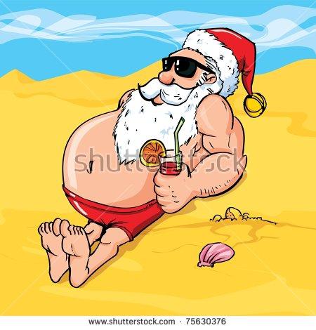 Santa Claus Beach Stock Images, Royalty.