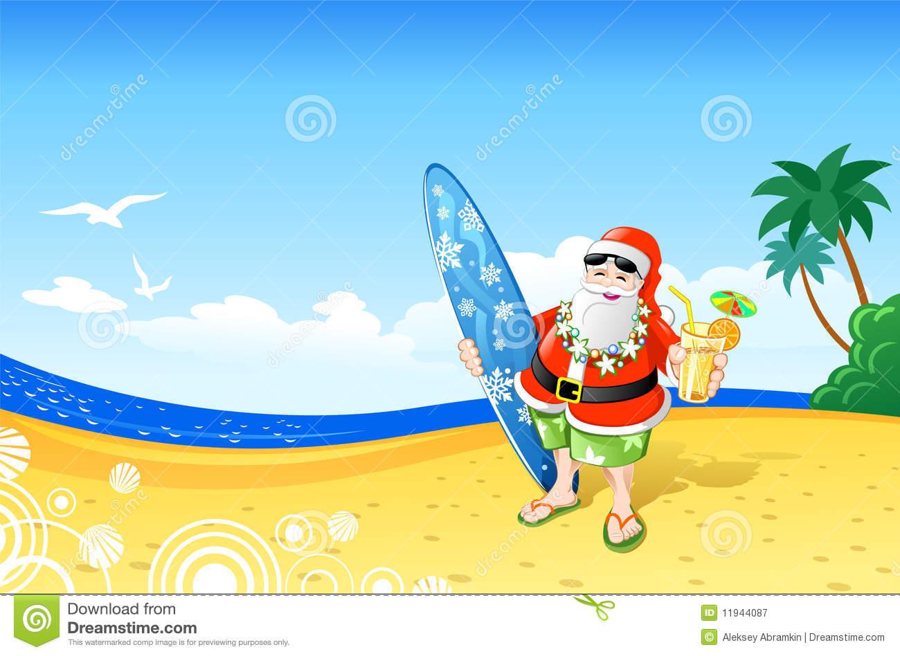 Christmas Santa On The Beach Royalty Free Stock Photography.