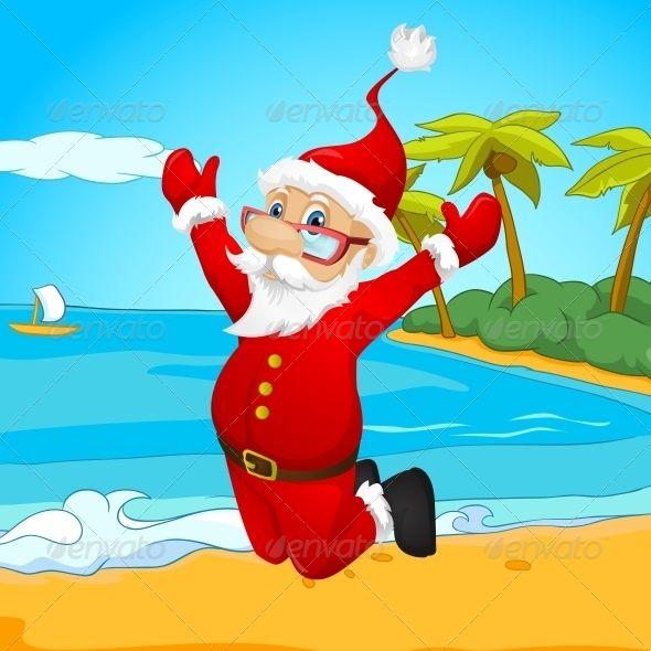 Santa Claus  beach, card, cartoon, character, christmas, claus.
