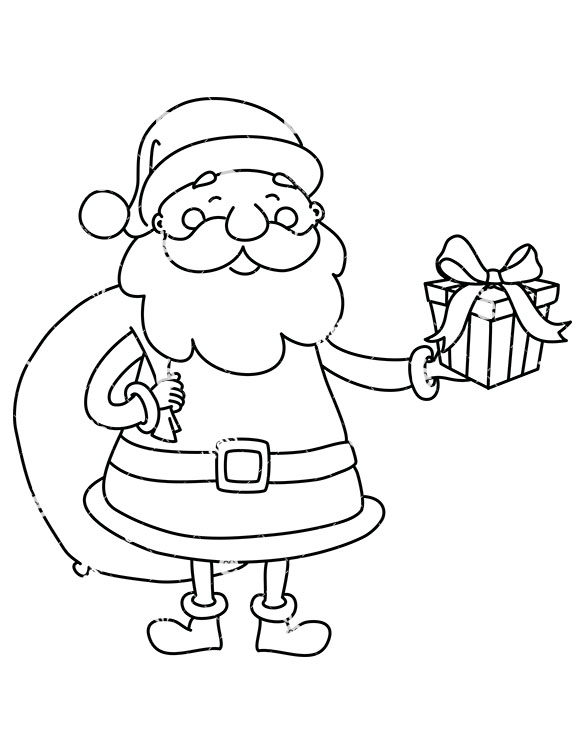 present outline Santa with a t bag on his back holding.