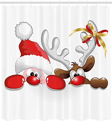 Ambesonne Christmas Shower Curtain, Funny Christmas Santa Claus and  Reindeer Peeking Cartoon Style Humor, Fabric Bathroom Decor Set with Hooks,  75.
