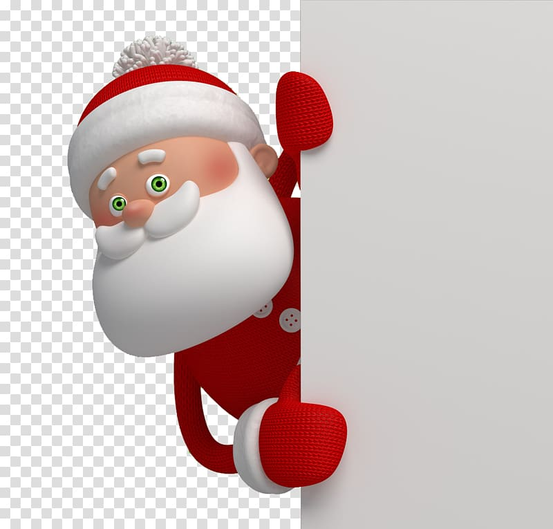 Santa Claus Cartoon Christmas Illustration, Santa peeking.