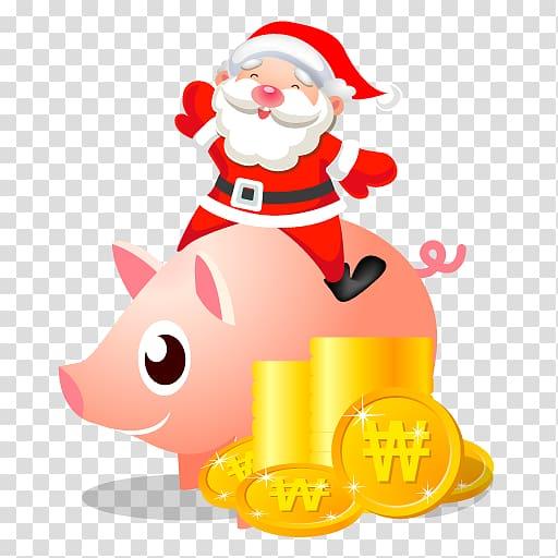 Santa Claus riding pig , christmas decoration recreation.