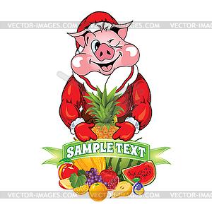 Cartoon pig in clothing Santa Claus.
