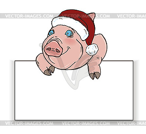 Pig in Santa hat Peeps out of behind white rectangle.