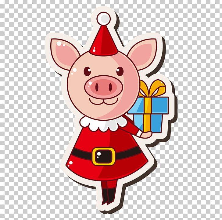 Domestic Pig Santa Claus Christmas Gift PNG, Clipart, Animal.