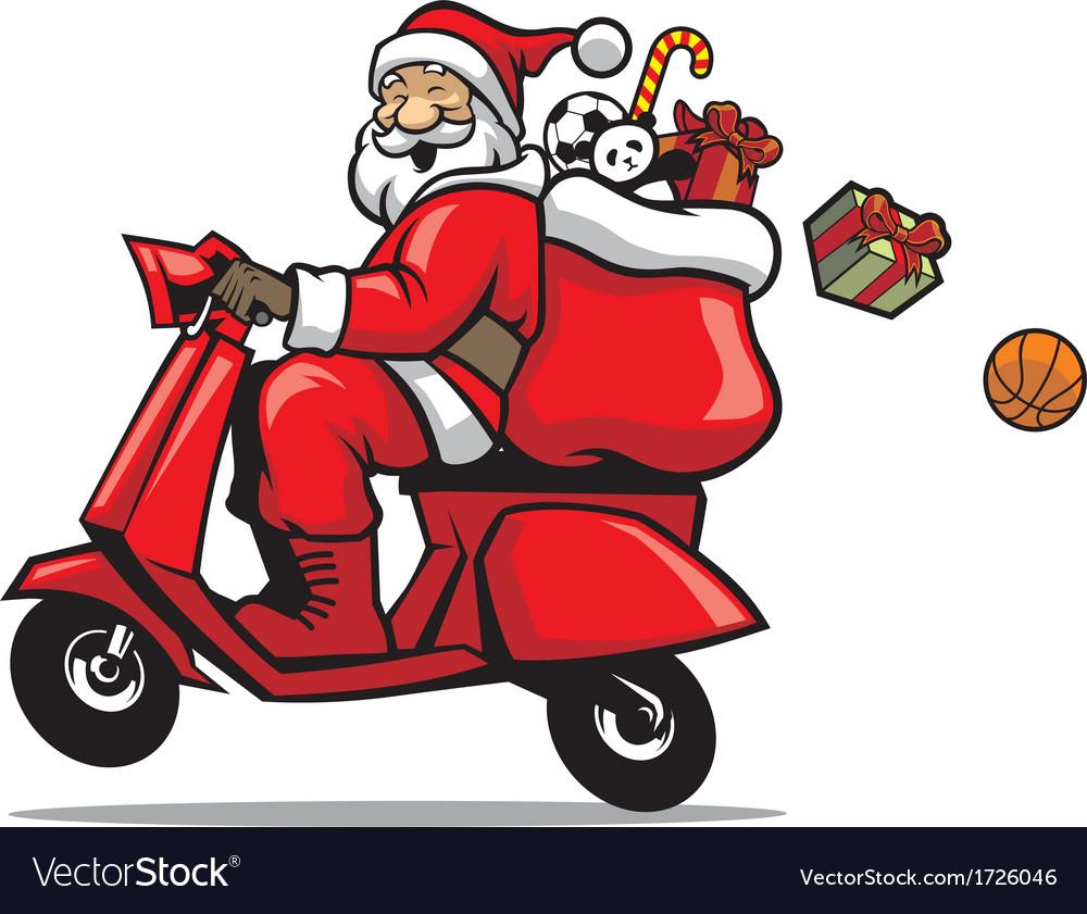 Santa ride a scooter.