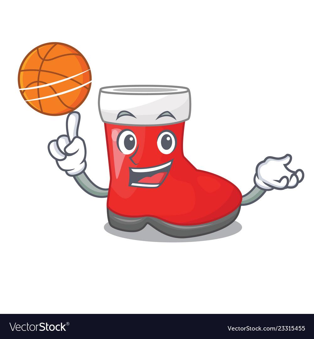 With basketball christmas santa boots with shape.