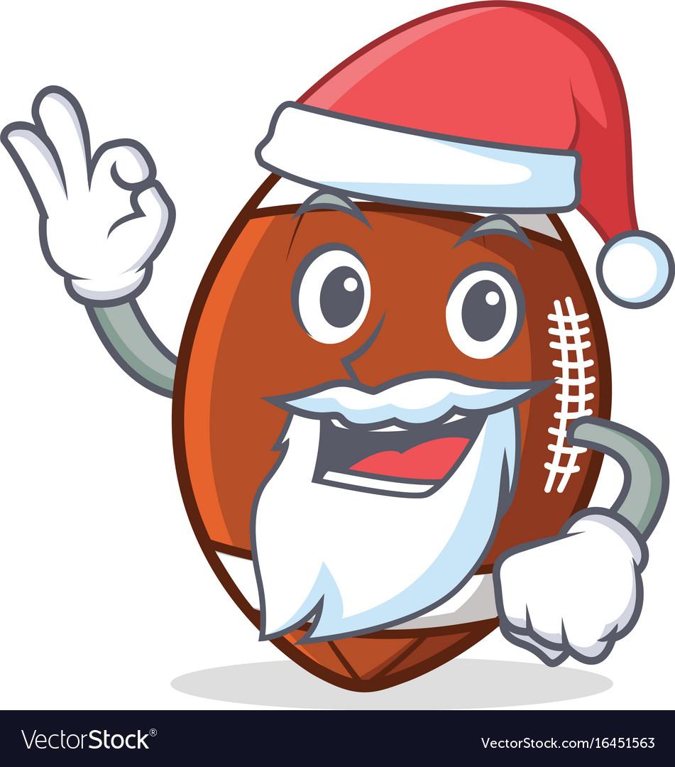 Santa american football character cartoon.