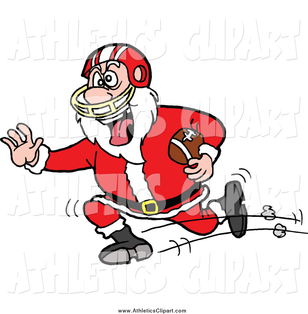Clip Art of a Football Player Santa Running by LaffToon.