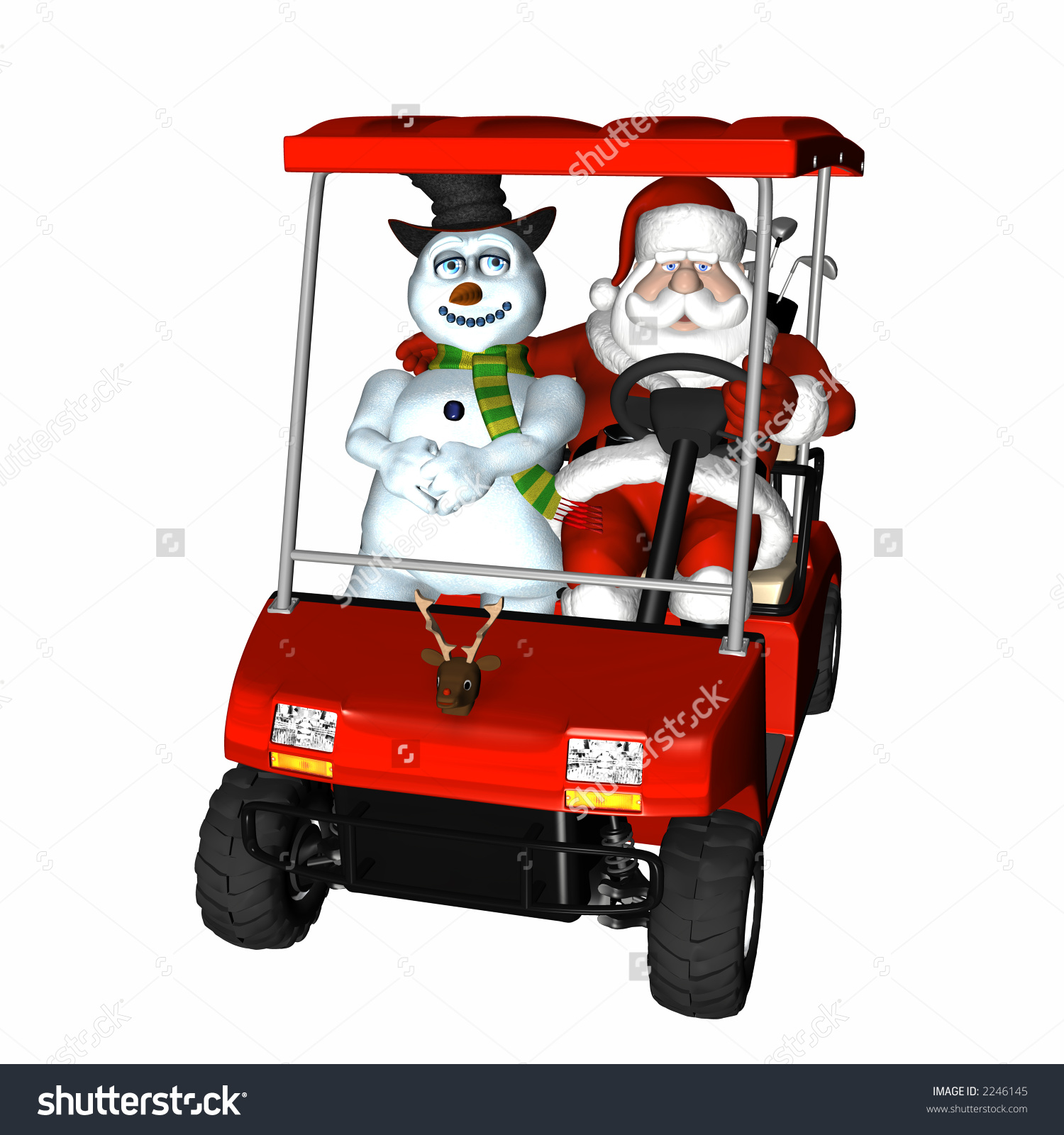 Santa And Frosty Out Playing Golf. Riding In A Golf Cart. Isolated.
